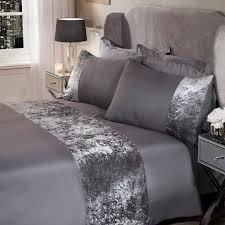 sienna crushed velvet band duvet set silver grey