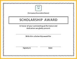 Scholarship Certificate Template Free Scholarship Application Templates Forms A Template Lab