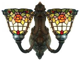 tiffany style stained glass flower 2 lights wall sconces