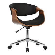 mid century office chair. Black Faux Leather And Chrome Finish Mid-Century Office Mid Century Chair
