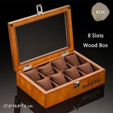 top 8 slots wooden watch boxes fashion black watch storage case with lock display gift box jewelry gift cases w033 travel watch cases watch travel box from