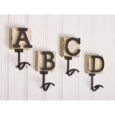 Unique Alphabetic Wooden Wall Hooks With Bright White Beadboard Design ~  http://lanewstalk