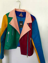 jacket multicolor colorblock colorful perfecto leather jacket leather fashiob fashion style trendy cute rainbow fall outfits fall jacket