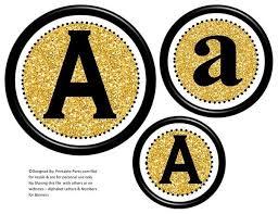 6 Inch Black Gold Glitter Circle Printable Banner Lett