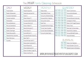 Weekly Household Cleaning Schedule Kitchen Checklist Daily Weekly House Cleaning Schedule Weekly