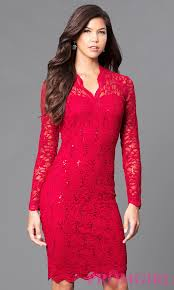 Lace Dress With Sleeves Red