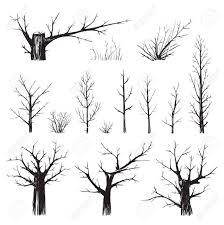 デッサン ベクトル Eps8 イラスト フリーハンド木の黒シルエット スケッチ セットでチクチク木コレクション