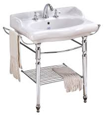 furniture picture of magica console sink with metal grid shelf