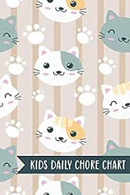 Kids Daily Chore Chart Cat Faces Weekly Checklist Task