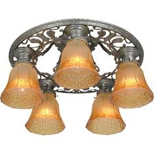 arts and crafts chandelier. Vintage Arts And Crafts Movement Semi-Flush Mount Ceiling Fixture Turn Of The Century, Five Light, Crafts, Low Chandelier. Chandelier L