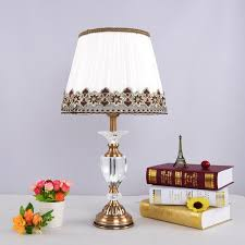 Antique Brass Luxury Modern Crystal Table Lamp Fabric Lampshade Living Room  Bedroom Bedside Table Lights Home