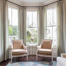 Bay Window Completed With Chairs And Small Table With Long Curtains :  Beautiful Bay Window Curtains