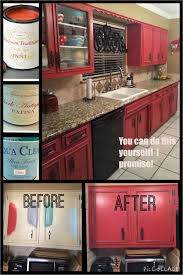 Diy Painting Kitchen Cabinets Black Diy Painted Red Cabinets In The