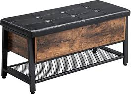 VASAGLE Industrial <b>Storage Bench</b>, Shoe Bench with Padded <b>Seat</b> ...