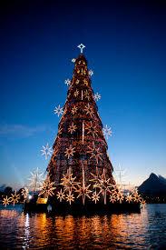 World's largest floating Christmas Tree, Rio de Janeiro, Brazil.