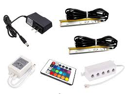Led Rgb Glass Edge Lighting Clips Set Of 2 Clips Led Glass Edge Lighting Kit In Rgb Including Multi Function Remote Control