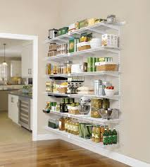 astounding creamy wall of contemporary kitchen which is decorated with good looking wire shelving kitchen above impressive hardwood flooring of kitchen free
