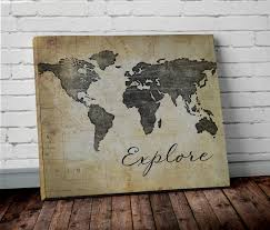 >explore world map wall art canvas world map print in brown new  explore world map wall art canvas world map print in brown new prints
