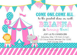circus invitation pink and teal ideas for carnival theme party invitations templates