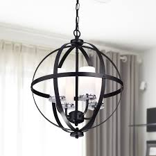benita antique black iron orb chandelier with glass globe regard to well liked chandeliers home design