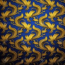 Achtergrond Rnament Donkerblauw En Goud Royalty Vrije Foto