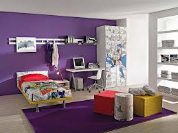 Purple Color For Bedroom Large Space Bedroom Interior Purple Color With Floral Wallpaper