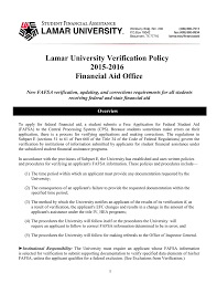 Lamar University Verification Policy 2015
