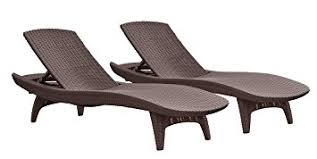patio chaise lounge chairs. Keter Pacific 2-Pack All-weather Adjustable Outdoor Patio Chaise Lounge Furniture, Brown Chairs E