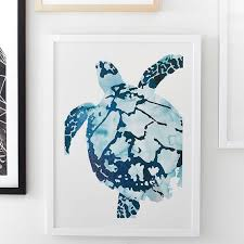 tropical sea turtle framed art by minted