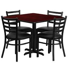 amazon flash furniture 36 square black laminate table set with 4 ladder back metal chairs black vinyl seat table chair sets