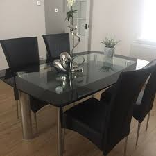 smoked glass with black glass edge dining table two tiers of glass smoked glass with black