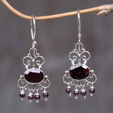 garnet dangle earrings crown princess sterling silver garnet chandelier earrings