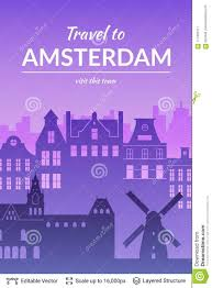 Amsterdam Famous City Scape Stock Vector Illustration Of Flyer