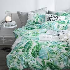 2018 summer cotton green leaf bedding sets queen single 2 3pcs duvet cover set 4pcs set for duvet cover bed sheet pillowcase