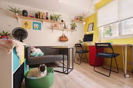 home office studio. A Colorful Studio Apartment\u0027s Open Plan Living Area And Home Office With Yellow Walls,