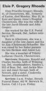 Obituary for Elsie P. Gregory Rhoads (Aged 85) - Newspapers.com