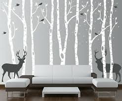 birch tree wall decal forest with birds