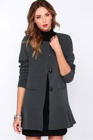 gray single ted ruffle hem chic coat