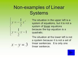 examples of linear systems the system at the upper left shows an example of two linear