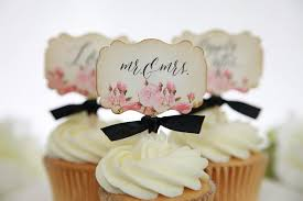 Vintage Floral Wedding Cupcake Toppers Mr Mrs Love Happily