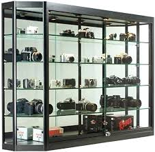 glass display case wall mounted illuminated angling glass jewelry display cabinet with locking sliding glass doors glass display case