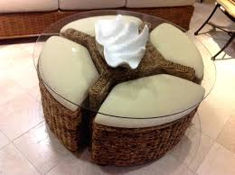 round coffee table with ottomans underneath round glass top table with storage ottomans underneath coffee table