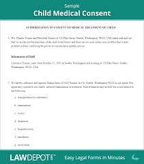 Medical Authorization Form Template Child Medical Consent Free Consent Form US LawDepot 16