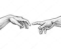 Adam Hands Black And White Vector Illustration Stock Vector