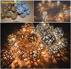 Decorative Cane Balls Silver and Golden Handmade Rattan Wicker Cane Balls String Lights 2