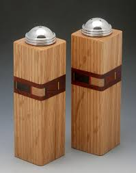 bold mosaic salt and pepper shakers by martha collins (wood salt