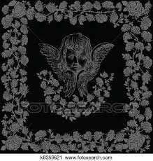 天使 キューピッド 黒 バラ フレーム クリップアート切り張りイラスト絵画集