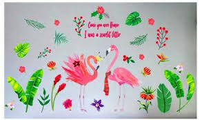 palm tree leaves wall stickers pvc diy flamingo animal muursticker for living room kitchen kindergarten decoration