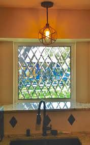 Add Stained Glass To Kitchen Windows For Privacy.