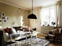 Living Room:Vintage Shabby Chic Decor With Distressed Wall And Off White  Tie Back Curtains